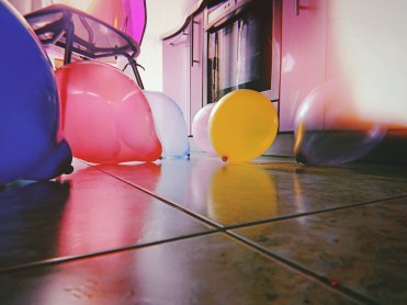Balloons on the floor for decorations and fun