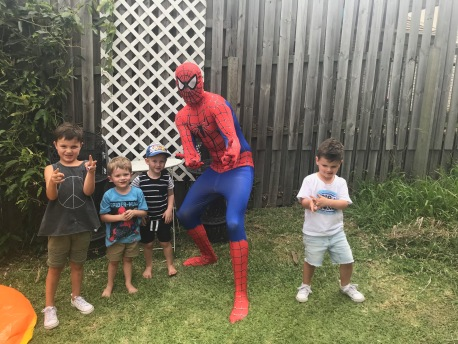 The kids with 'Spider - Dad'
